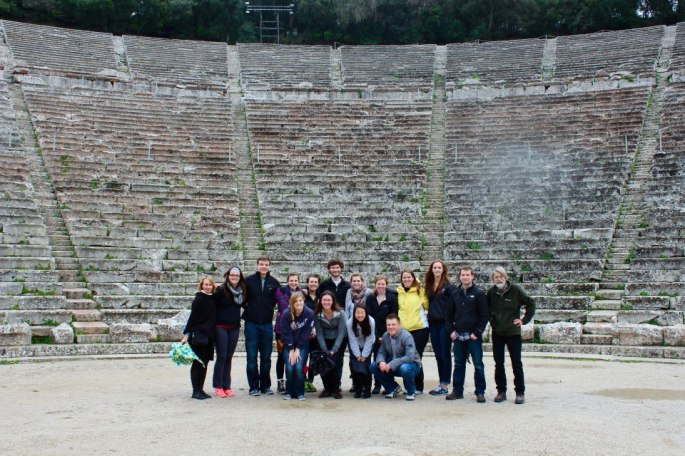 And here we all are--my good group--at the ancient theatre of Epidauros.