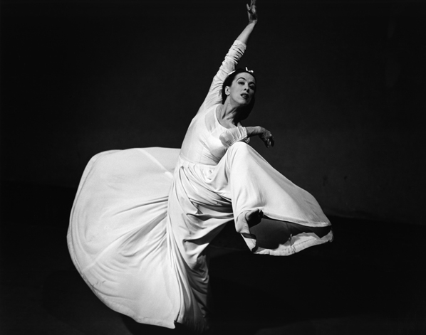 "Martha Graham in ""Letter to the World,"" her portrait of Emily Dickinson. Classic photograph by Barbara Morgan, 1940."