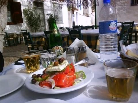 Greek salad lunch in Hydra