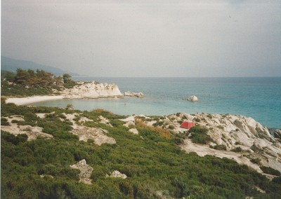 Bakken's red tent, perched at Portokali Beach on Halkidiki (ca. 1992).