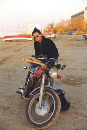Bakken at the age of 24, with completely unreliable motorcycle.